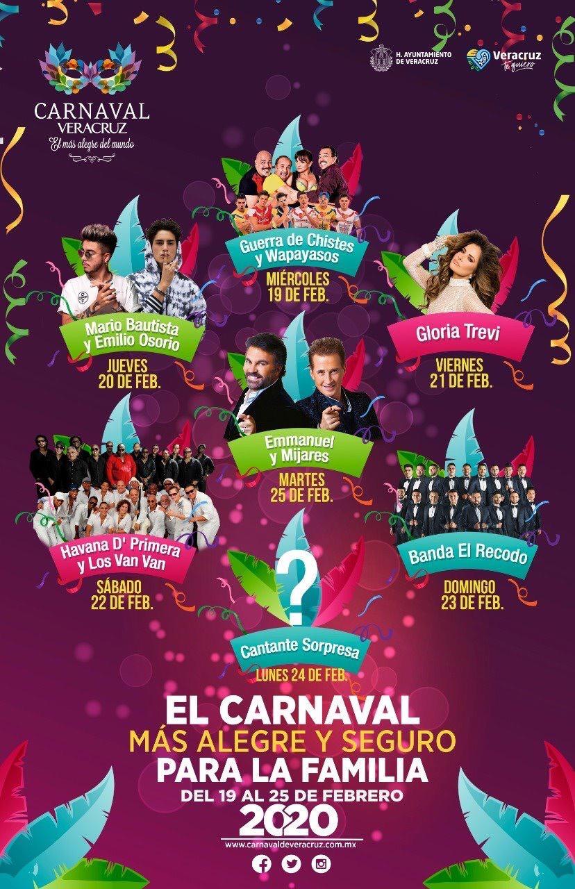 Gloria Trevi, el Recordó, los Van Van, Emanuel y Mijares en el carnaval de Veracruz.