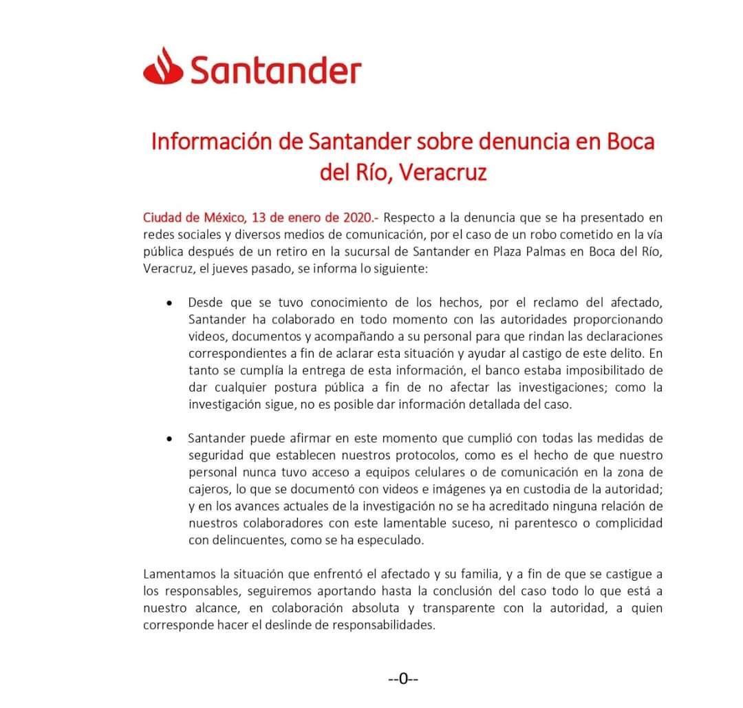 Niega Santander que empleada haya participado en asalto