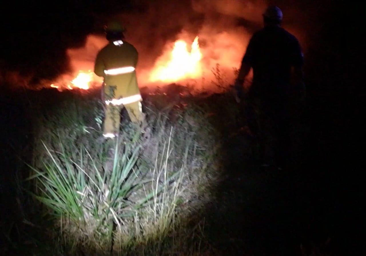 Incendio en pastizal en Rancho los Gansos de Cerro Azul.
