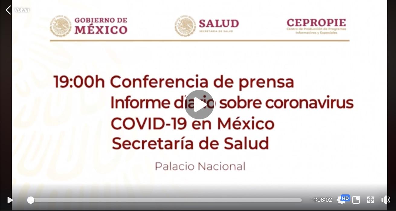 Gobierno de México conferencia diaria de la Secretaría de Salud 09 de marzo 2020