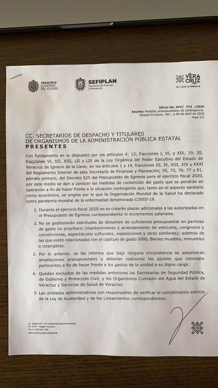 Severa contención del gasto en Veracruz: Sefiplan