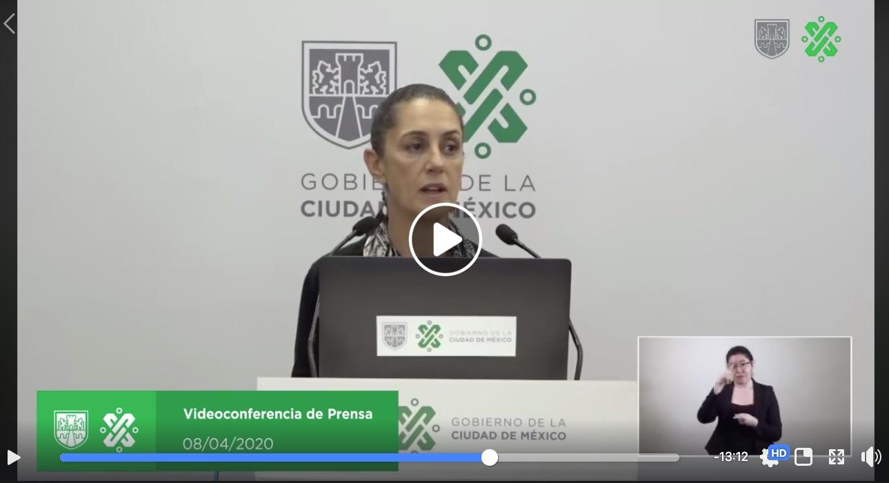 Videoconferencia de prensa 08/04/2020 Claudia Sheinbaum gobernadora de la CDMX