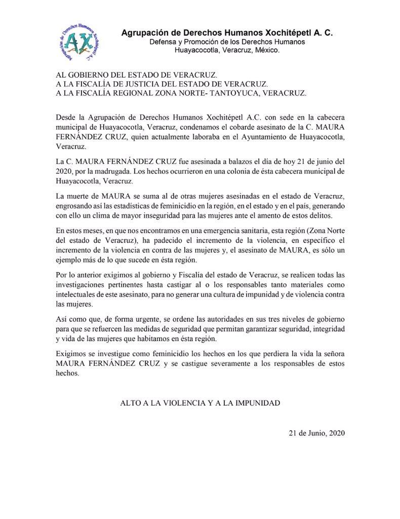 Incrementa la violencia contra las mujeres en el norte y el asesinato de Maura es sólo un ejemplo: Xochitépetl AC