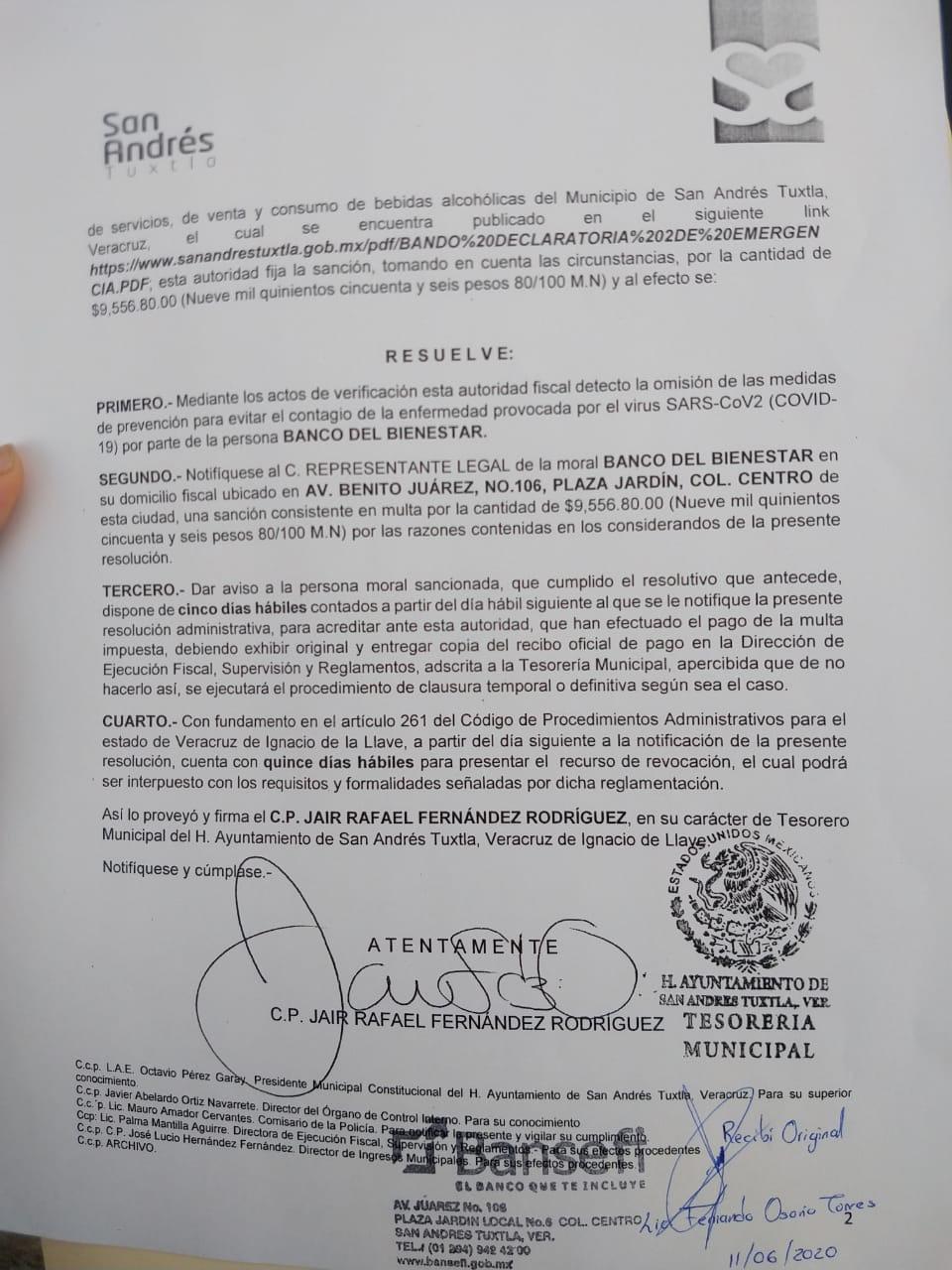 Multa ayuntamiento de San Andrés a Banco del Bienestar por no cumplir con medidas sanitarias