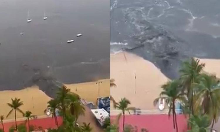 Se hace viral tiradero de aguas negras en mar de Acapulco