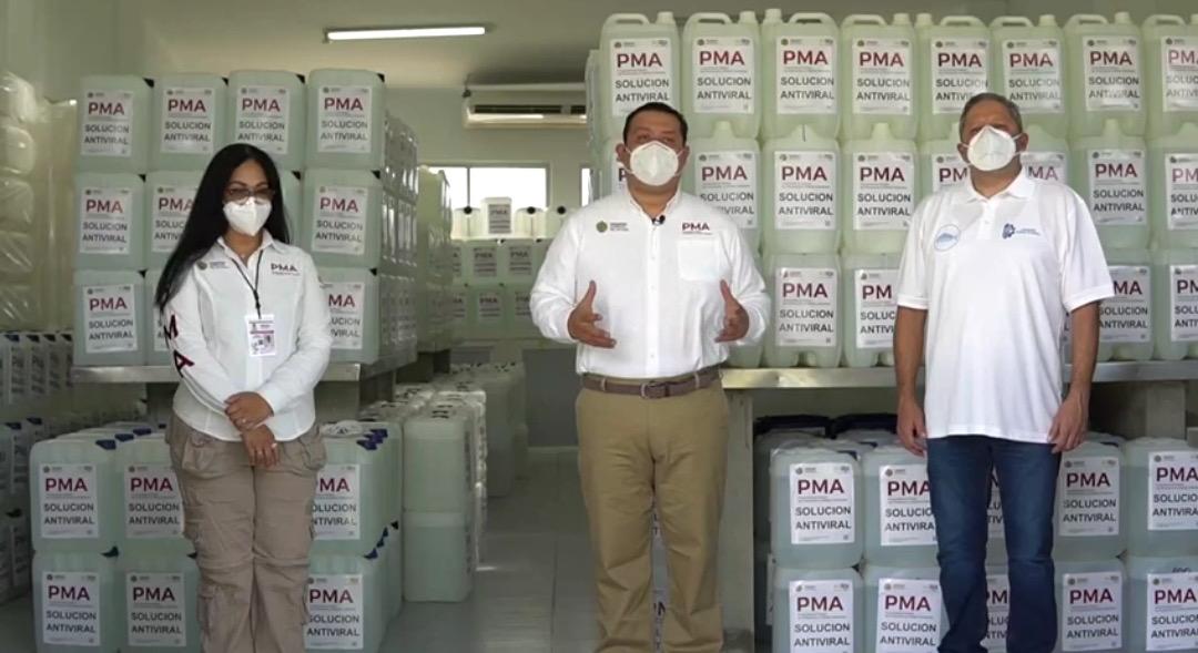 Fabrican PMA y tecnológicos 72 mil litros de solución sanitizante, inician donación