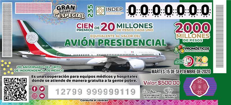 Entregarán premios del sorteo del avión presidencial este viernes