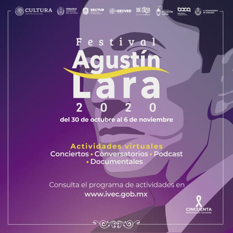 Realiza el IVEC el Festival Agustín Lara, del 30 de octubre al 6 de noviembre, en modalidad virtual