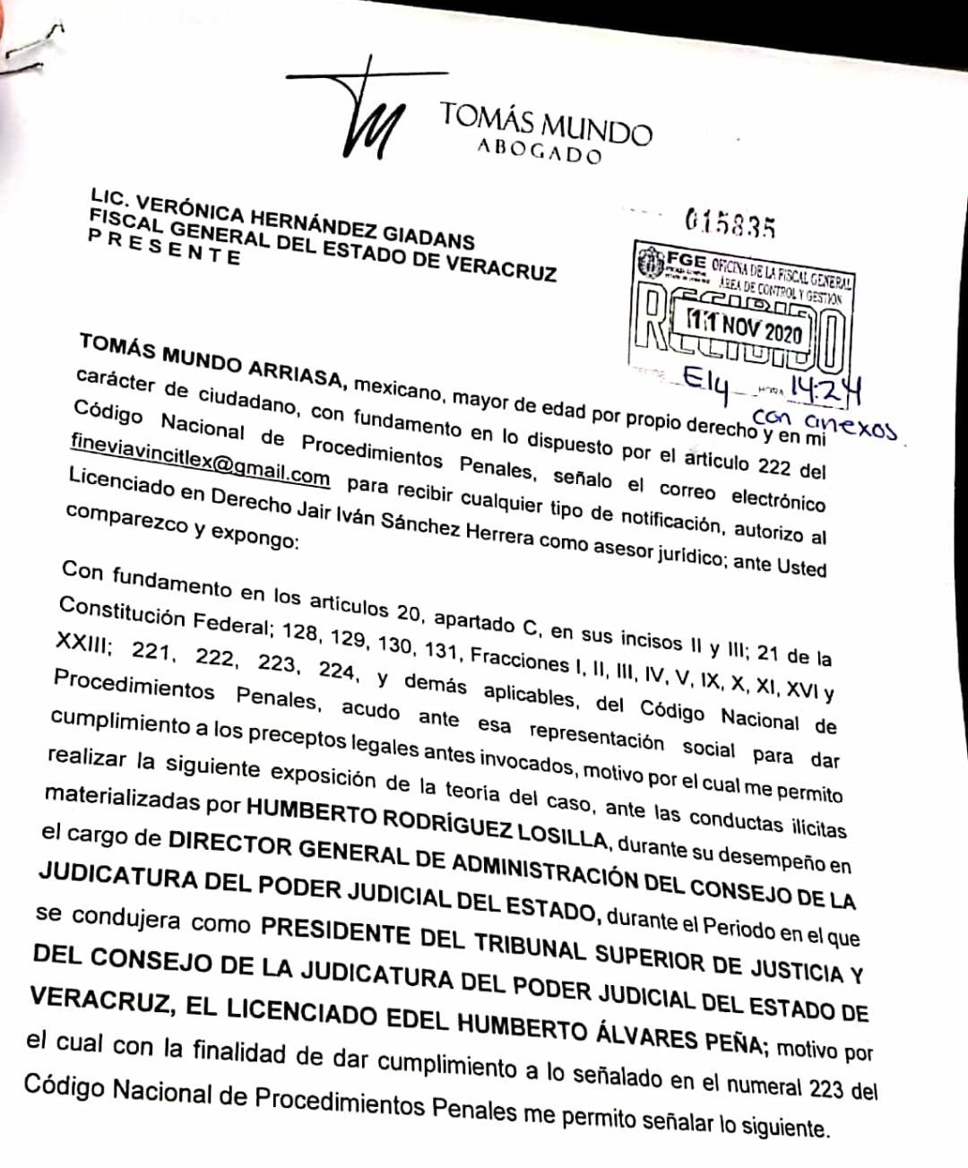 Denuncia Tomás Mundo irregularidades por 5 mil mdp en construcción de ciudades judiciales