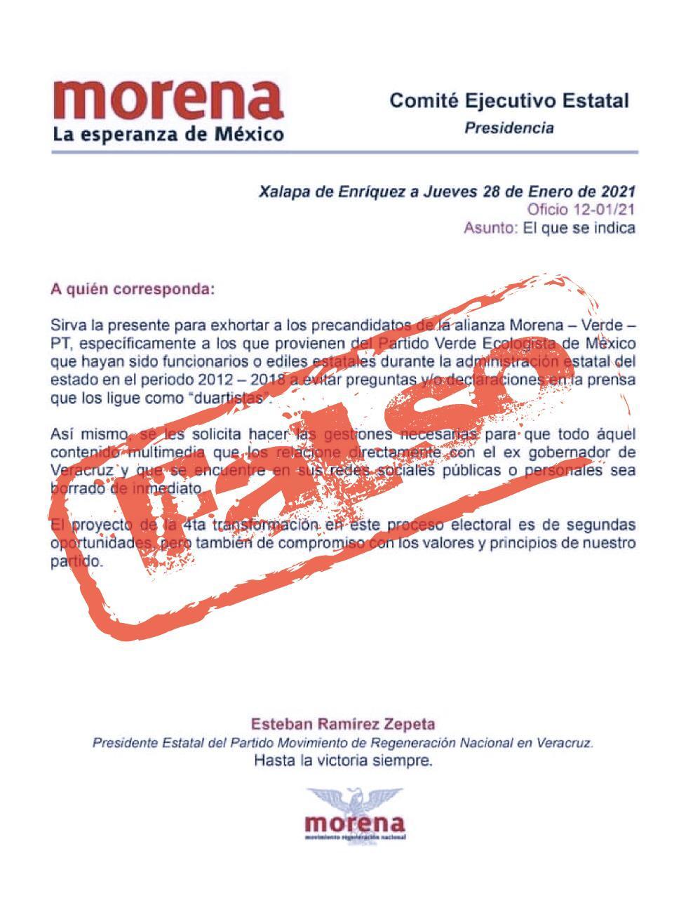 Fake News documento que circula con respecto a precandidatos de coalición: Ramírez Zepeta