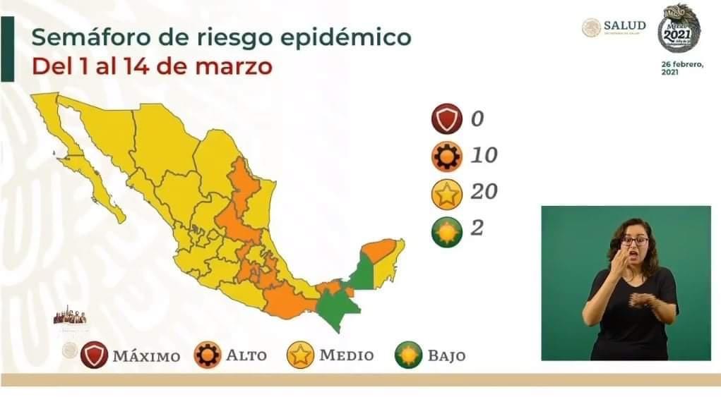 Estado de Veracruz pasa a semáforo del Covid Amarillo.
