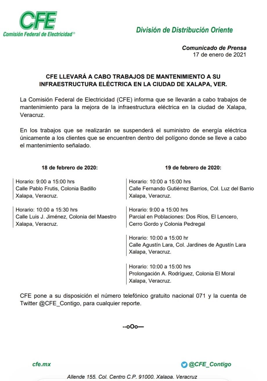 Nuevamente, cortes este 18 y 19 de febrero en Xalapa y Emiliano Zapata