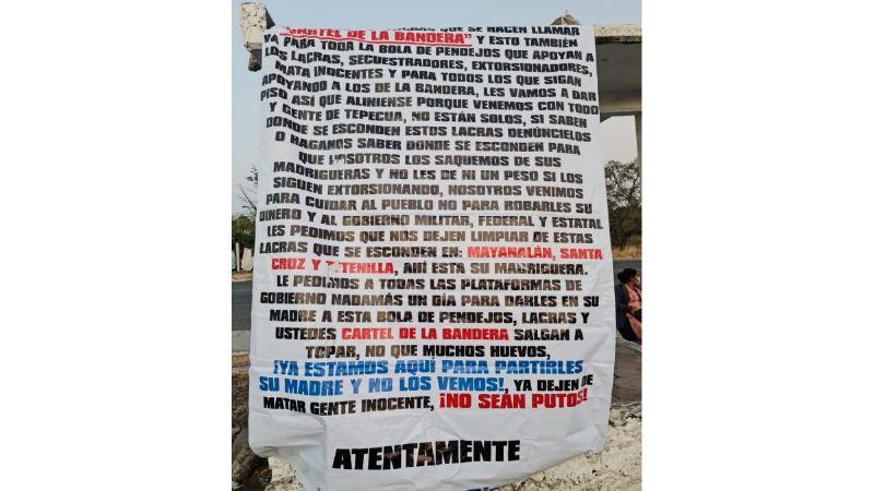 Iguala amanece tapizada de narcomantas previo al arribo de los presidentes de México y Argentina