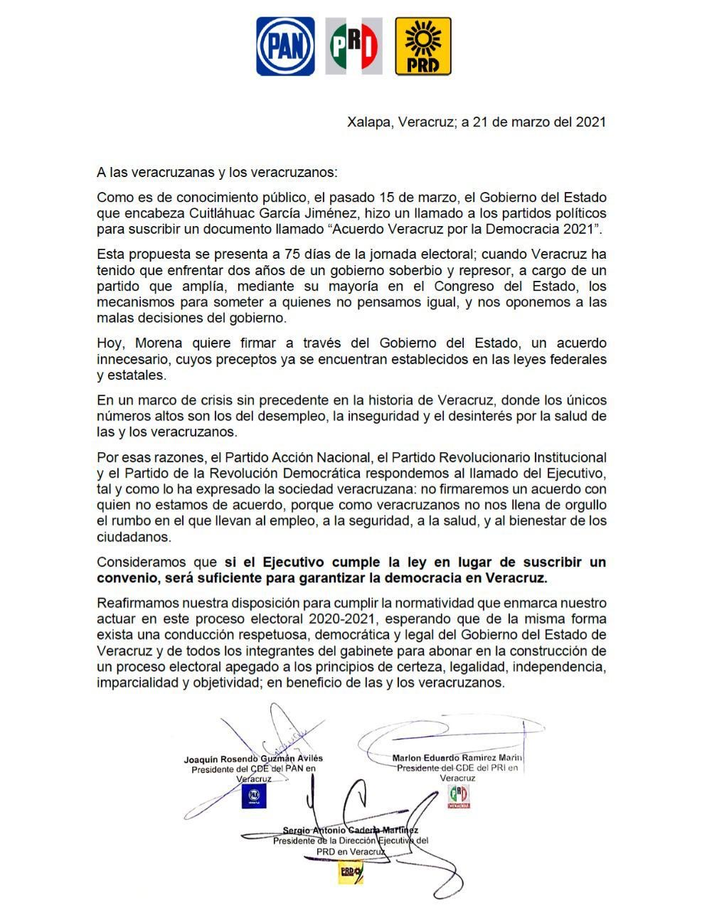 PRI, PAN y PRD no van al Acuerdo Veracruz por la Democracia 2021