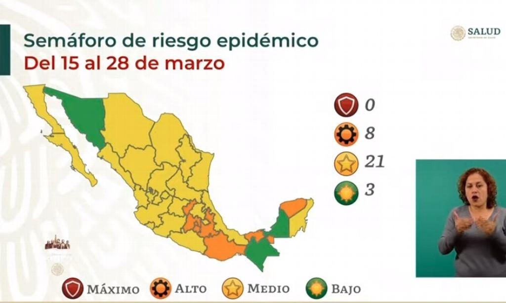 Veracruz sigue en Amarillo, 3 estados en Verde.