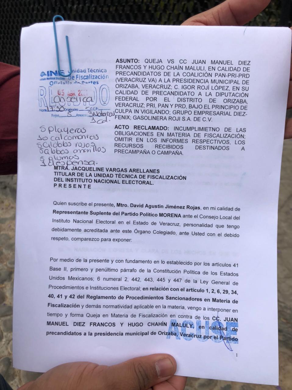 MORENA denuncia a Diez Francos e Igor Rojí por no reportar gastos de precampaña y campaña