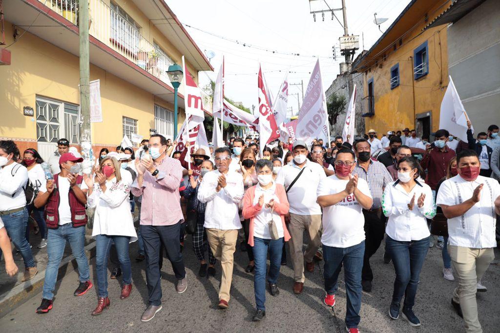 Rumbo a las elecciones del 6 de junio, Morena mostró su fuerza en Coatepec con una mega marcha