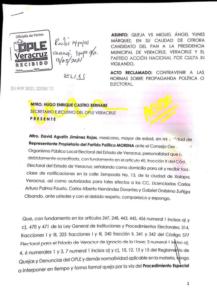 Presenta Morena queja ante el OPLE en contra de Miguel Ángel Yunes Márquez