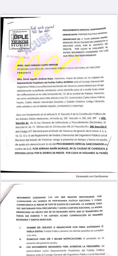 Morena denuncia ante la Unidad Técnica de Fiscalización del INE a candidata a diputada local del partido MC por el distrito de Perote