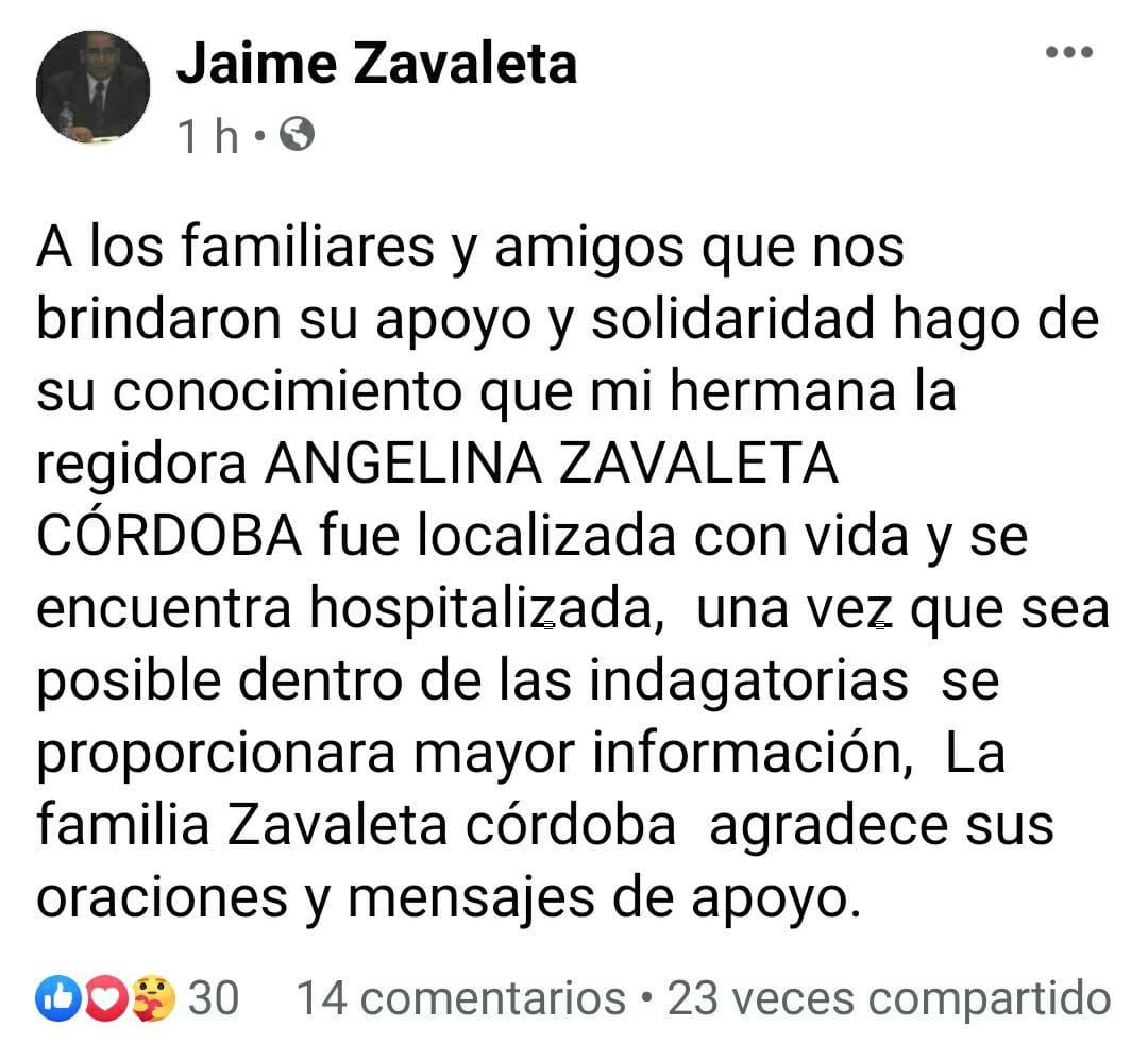 Localizan con vida a la regidora del ayuntamiento de Perote