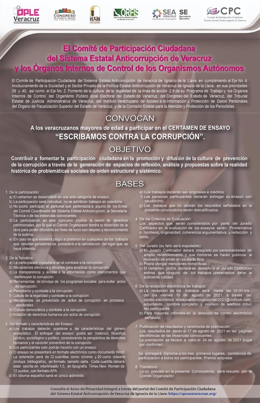 """El Órgano Interno de Control del OPLE Veracruz y el Sistema Estatal Anticorrupción invitan a participar en el Certamen de Ensayo: """"Escribamos Contra la Corrupción"""""""