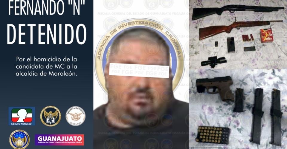 Detienen al presunto homicida de la candidata de MC en Moroleón