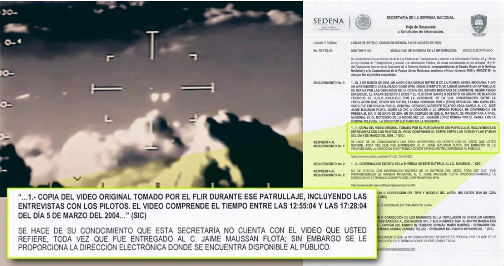 La Fuerza Aérea Mexicana avistó supuestos OVNIS